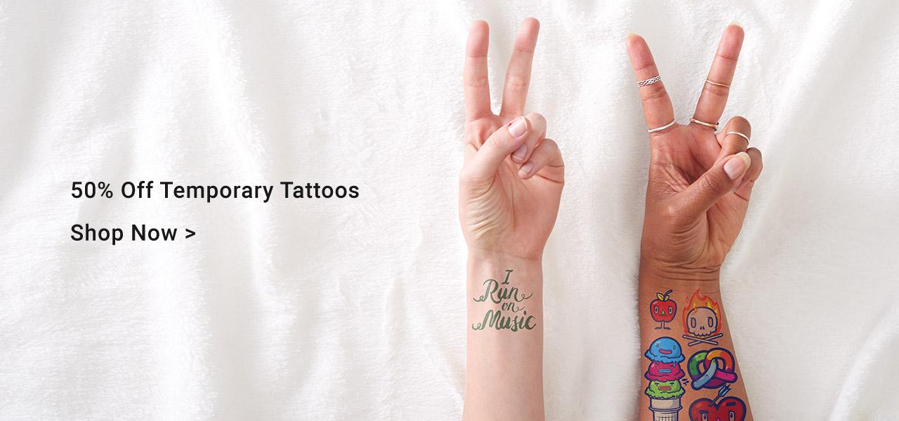 50% Off Temporary Tattoos