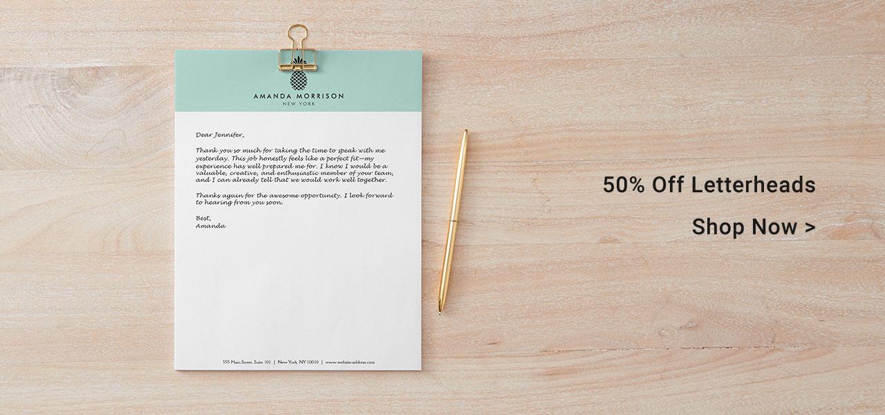 50% Off Letterheads