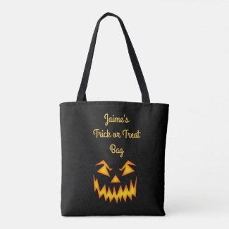 Black and Orange Halloween Personalized Candy Bag