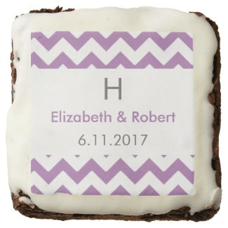 Purple and Grey Chevron Wedding Chocolate Brownie