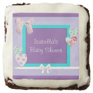 Purple and Aqua Baby Shower Brownies