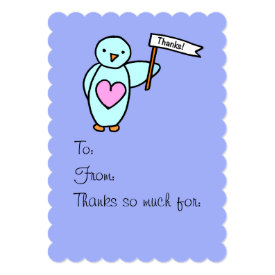 Penguin with Heart Thank You Card