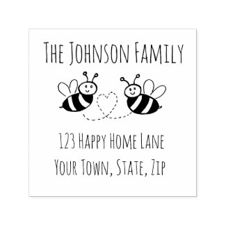 Honey Bees with Heart Address Stamp