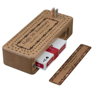 Happy 5th Anniversary Wood Cribbage Board