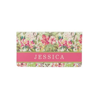 Tropical Floral Custom Pink/Green Checkbook Cover