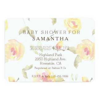 Beautiful Yellow Watercolor Floral baby shower Card