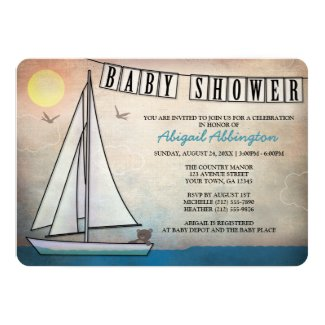 Rustic Sailboat Nautical Baby Shower Invitations
