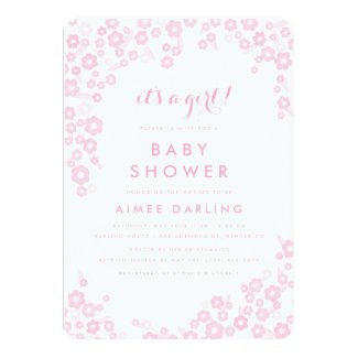 It's a Girl! Baby Shower Invitations | Pink Floral