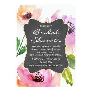 Watercolor Floral Chalkboard Bridal Shower Card