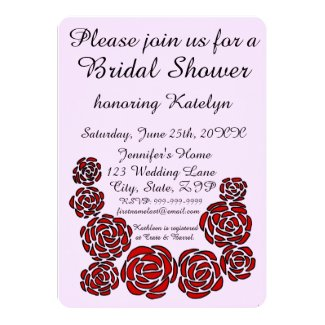Stylish Bridal Shower with Border of Red Roses Card