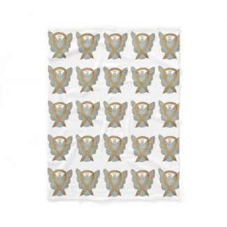 Gold Awareness Ribbon Angel Baby Blanket