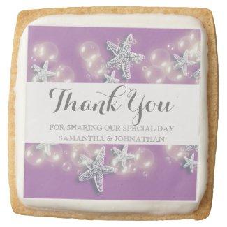 Starfish wedding purple gray square shortbread cookie