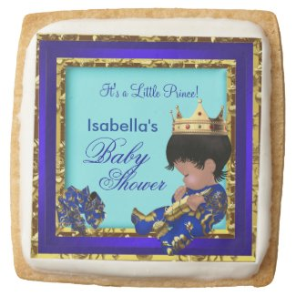 Baby Shower Royal Blue Gold Boy crown prince Square Shortbread Cookie