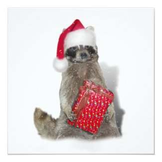 Christmas Santa Raccoon Bandit Card