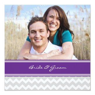 Photo Wedding Invitations Grey Purple Chevron