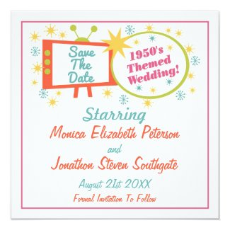Retro 1950's Themed Save The Date Cards