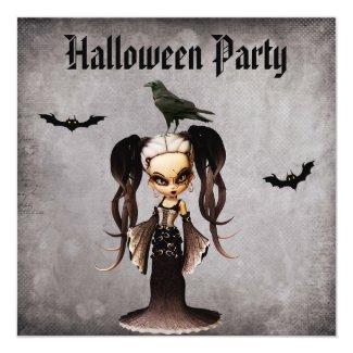 Whimsical Frankie Bride & Crow Damask Halloween Card