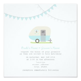 Retro Blue Trailer Wedding Invite