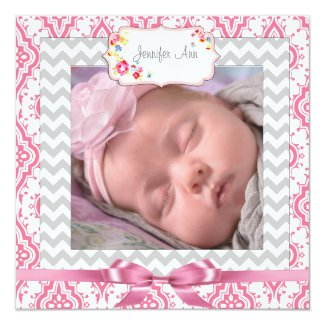 Pink & Gray Chevron Baby Girl Birth Announcement