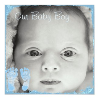 Blue Baby Footprint Birth Announcement for Baby