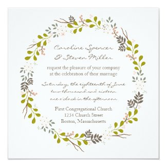 Woodland Wedding Rustic Wreath Invitation