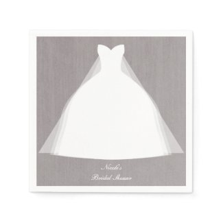 Wedding Dress Modern Glamour Bridal Shower Grey Napkin