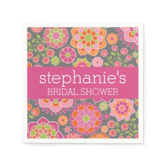 Hot Pink & Lime Green Flowers - Bridal Shower Paper Napkin