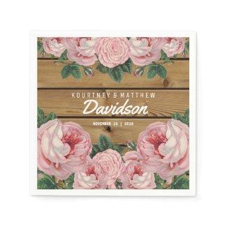 Rustic Vintage Pink Rose Wedding Napkin