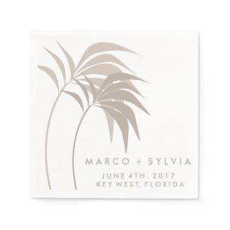 Tropical Sand Palm Tree Beach Wedding Napkins