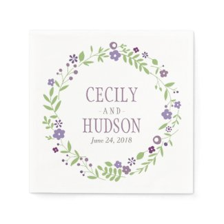 Wedding Napkins | Country Florals Purple