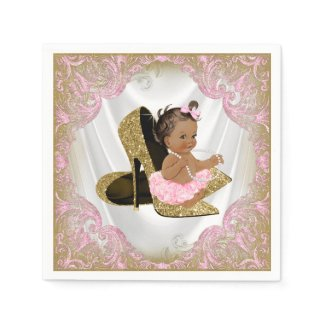 Pink Gold High Heel Shoe Etnic Girl Baby Shower Napkin