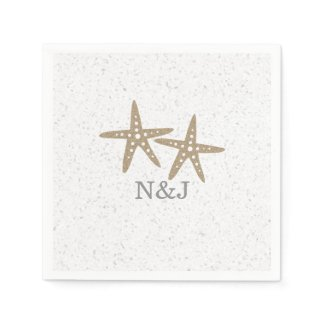 Two Starfish Beach Bridal Shower Wedding Napkins