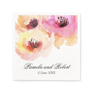 Peach and Pink Watercolor Floral Wedding Paper Napkin