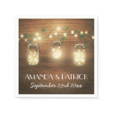 Country Lights Rustic Mason Jar Wedding Napkins