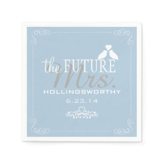 Blue The Future Mrs. Bridal Shower Paper Napkin