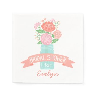 Bridal Shower Napkins | Mason Jar Bouquet
