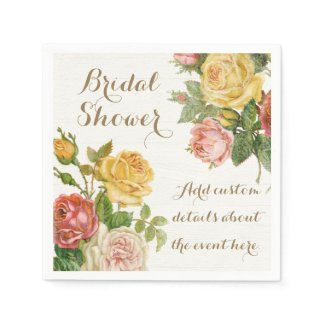 Vintage Floral Whitewash Spring Bridal Shower Napkin