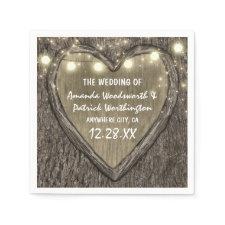 String Lights + Oak Tree Bark Wedding Napkins