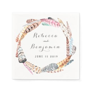 Watercolor Feathers Rustic Bohemian Wedding Paper Napkin