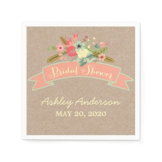 Rustic Flowers Bridal Shower Paper Napkins