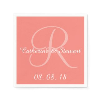 Monogram Coral Pink Stylish Color Design Wedding Paper Napkin