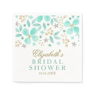 Gold Mint Floral Leaf Bridal Shower Napkins