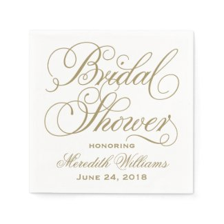 Bridal Shower Napkins | Antique Gold
