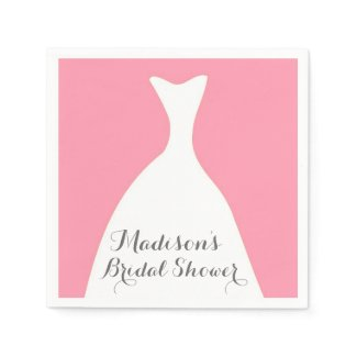 Pink Wedding Dress Bridal Shower Napkins