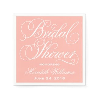 Bridal Shower Napkins | Blush Peach Pink