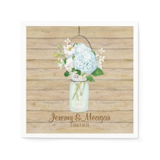 Rustic Country Mason Jar Flowers White Hydrangeas Napkin