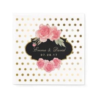 Modern Gold Foil Polka Dots Vintage Floral Wedding Paper Napkin