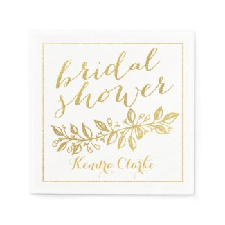 GOLD FLORAL BRIDAL SHOWER NAPKINS