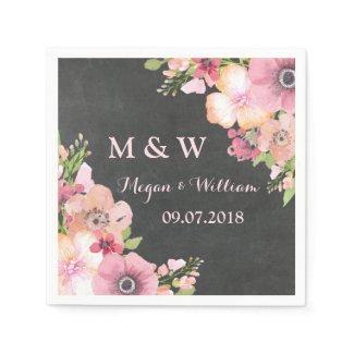 Rustic Chalkboard Pink Wedding Monogram Napkin