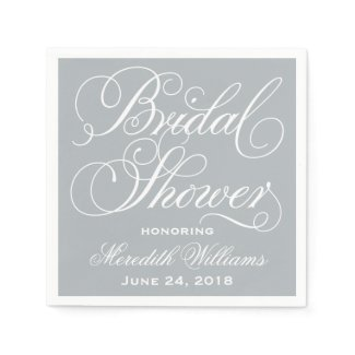 Bridal Shower Napkins | Gray and White